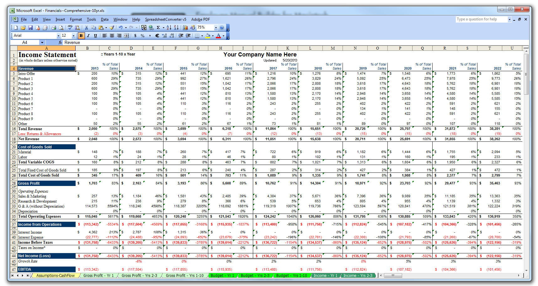 BizPlanBuilder financial models use Excel templates for total ...